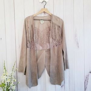 Vocal Boho Faux Suede Lace Tan Open Jacket Small